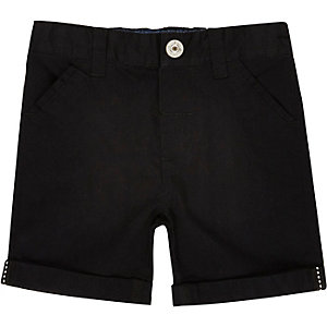 Mini boys black twill shorts