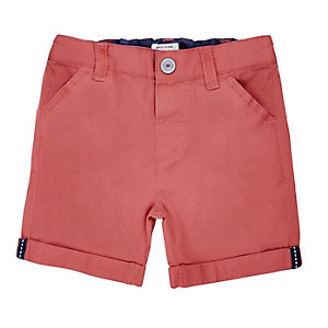 Mini boys red twill shorts