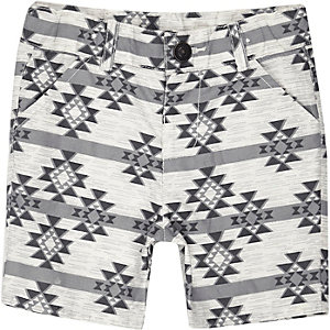 Mini boys cream geometric print shorts