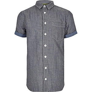 Boys blue stripe short sleeve shirt