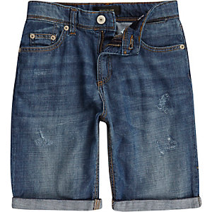 Boys mid wash lightweight denim shorts