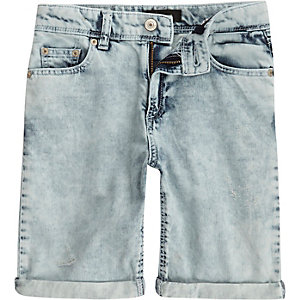 Boys light wash lightweight denim shorts