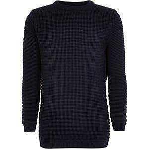 Boys navy waffle texture sweater
