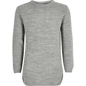 Boys grey waffle texture sweater