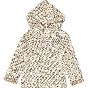 Mini boys cream hoodie knitted sweater
