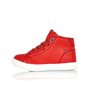 Mini boys red high top sneakers
