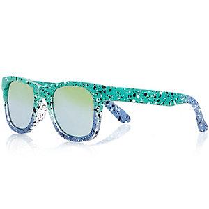 Boys blue paint wayfarer-style sunglasses
