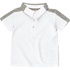 Mini boys white textured polo shirt