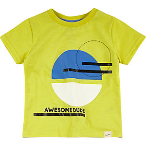 Mini boys yellow dude print t-shirt