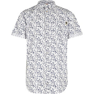 Boys white paint splash print shirt