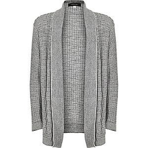 Boys grey knitted open cardigan