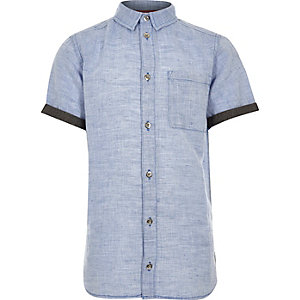 Boys blue linen short sleeve shirt
