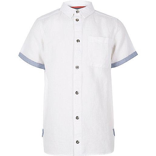 Boys white linen short sleeve shirt