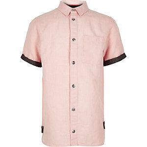 Boys pink linen short sleeve shirt