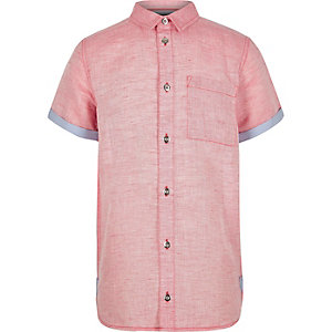 Boys red linen short sleeve shirt