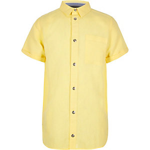 Boys yellow linen short sleeve shirt