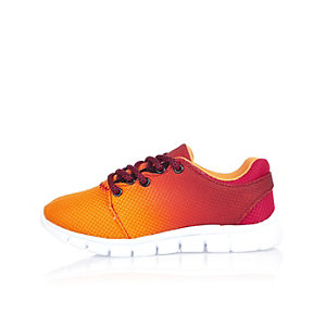 Boys bright orange faded sneakers
