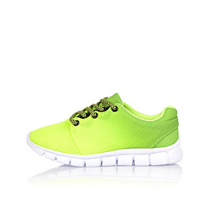 Boys lime green faded sneakers