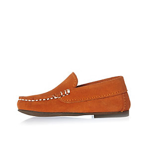 Mini boys orange suede loafers