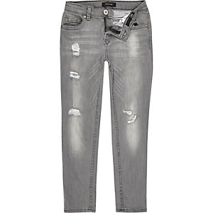 Boys grey distressed Dylan slim jeans