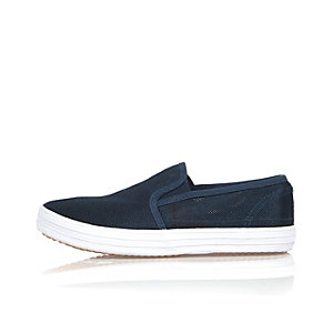 Boys navy mesh slip on sneakers