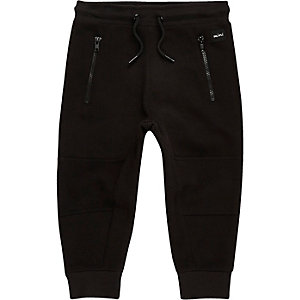 Mini boys black zip panel joggers