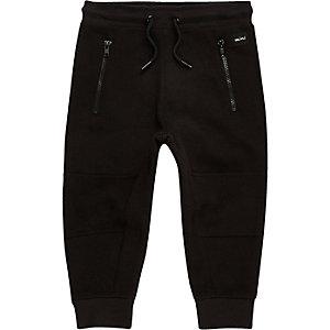 Pantalon de survêtement noir zippé à empiècement mini garçon