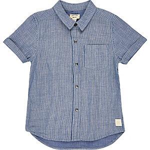 Mini boys blue stripe short sleeve shirt