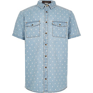 Boys mid wash denim shirt