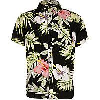 Boys black Hawaiian print short sleeve shirt