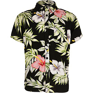 Boys black Hawaiian print short sleeve shirt