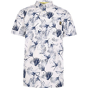 Boys white dandelion print shirt