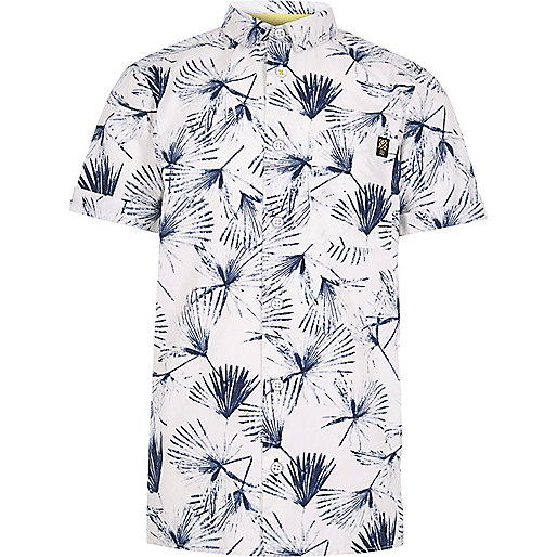 Boys white dandelion print shirt