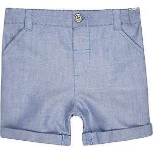Mini boys blue Oxford shorts