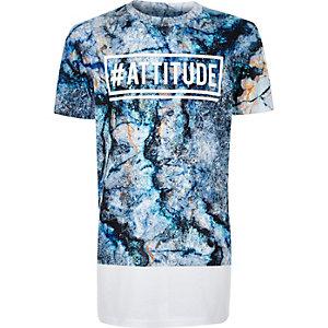 Boys blue marble attitude print t-shirt