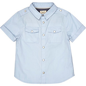Mini boys blue military shirt