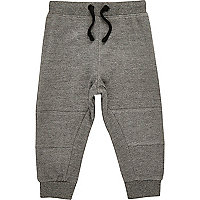 Mini boys grey seamed joggers