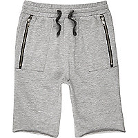Boys grey drop crotch shorts
