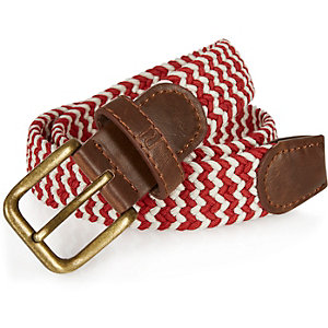 Boys red woven zig zag belt