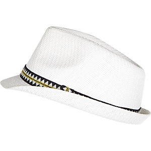 Boys white trilby hat