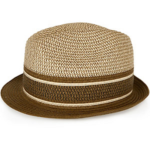 Boys khaki block trilby hat