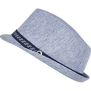 Boys blue trilby hat
