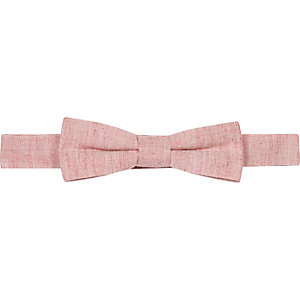 Boys coral chambray bow tie