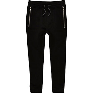 Boys black dropped crotch joggers