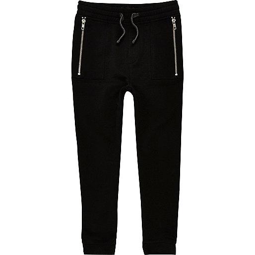 Pantalon de jogging noir à entrejambe bas pour garçon