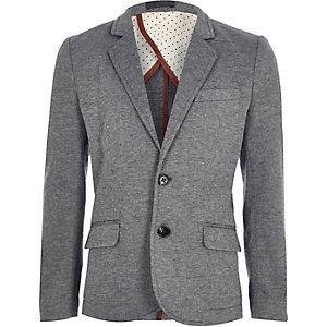 Boys dark grey fitted blazer