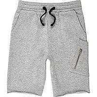 Grau melierte Jersey-Shorts