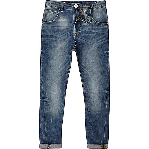 Boys mid blue wash Tony slouch fit jeans
