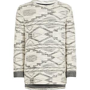 Boys grey geometric oversized knit sweater