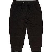Pantalon de survêtement noir à coutures apparentes mini garçon